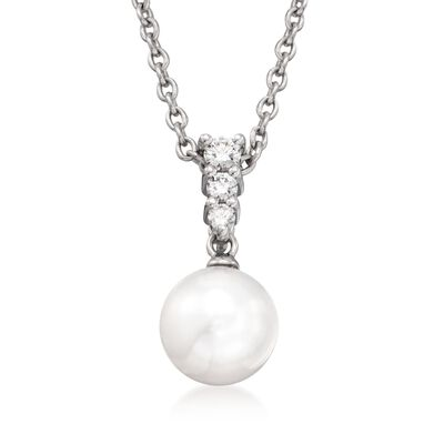 Mikimoto 8mm Akoya Pearl Necklace with .12 ct. t.w. Diamonds in 18kt White Gold, , default