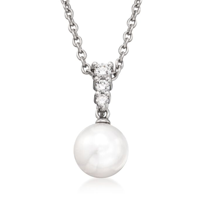 "Mikimoto 8mm Akoya Pearl and .12 Carat Total Weight Diamond Necklace in 18-Karat White Gold. 18"", , default"