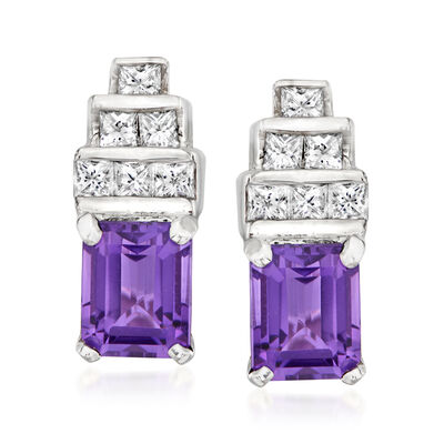 C. 1980 Vintage 2.20 Carat Amethyst and .80 ct. t.w. Diamond Earrings in 18kt White Gold