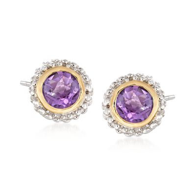"Phillip Gavriel ""Popcorn"" .72 ct. t.w. Amethyst Stud Earrings in Sterling Silver and 18kt Gold, , default"
