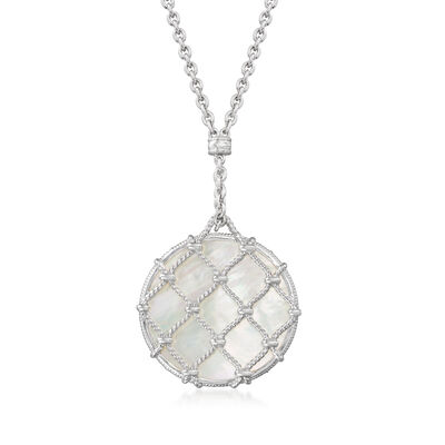 """Judith Ripka """"Isola"""" Mother-Of-Pearl Pendant Necklace in Sterling Silver"""