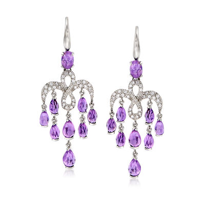 C. 2000 Vintage Mimi Milano 5.50 ct. t.w. Amethyst and .40 ct. t.w. Diamond Chandelier Earrings in 18kt White Gold, , default