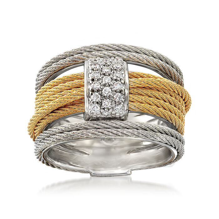"ALOR ""Classique"" .16 ct. t.w. Diamond Two-Tone Cable Ring with 18kt White Gold. Size 7, , default"