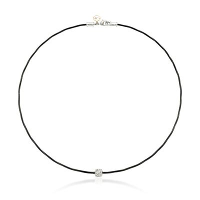 "ALOR ""Noir"" Diamond Station Black Cable Necklace with 18kt Two-Tone Gold"