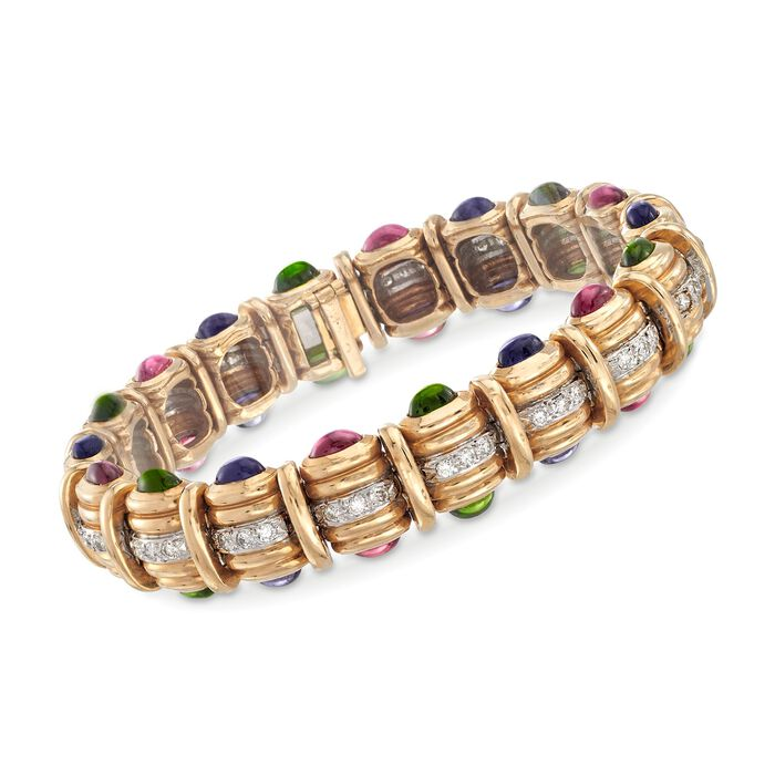 """C. 1990 Vintage 8.40 ct. t.w. Multi-Stone and 1.25 ct. t.w. Diamond Bracelet in 14kt Yellow Gold. 6.75"""", , default"""
