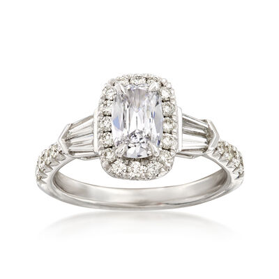 Henri Daussi 1.50 ct. t.w. Diamond Halo Engagement Ring in 18kt White Gold, , default