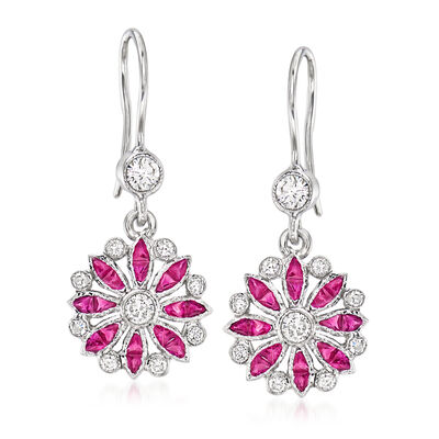 C. 2000 Vintage .65 ct. t.w. Ruby and .20 ct. t.w. Diamond Flower Drop Earrings in 18kt White Gold