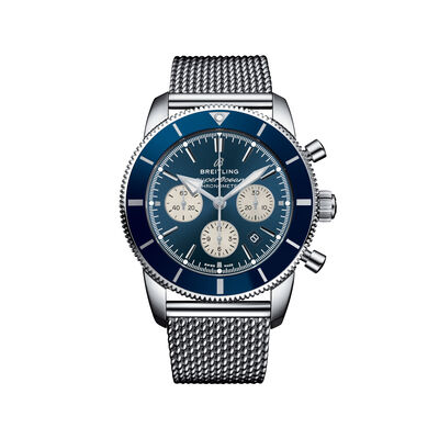 Breitling Superocean Heritage II B01 Chronograph Men's 44mm Stainless Steel Watch - Blue Dial, , default