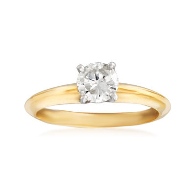 C. 2010 Vintage .52 Carat Certified Diamond Engagement Ring in 14kt Yellow Gold, , default