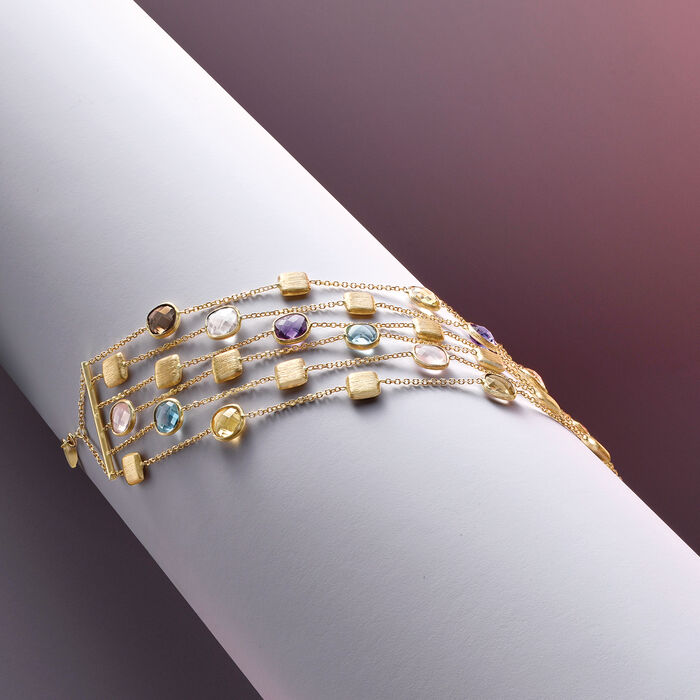 Italian 11.20 ct. t.w. Multi-Gemstone Six-Strand Bracelet in 14kt Yellow Gold