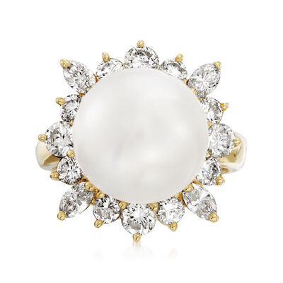 C. 1980 Vintage 12mm Cultured South Sea Pearl and 1.47 ct. t.w. Diamond Cocktail Ring in 18kt Yellow Gold, , default