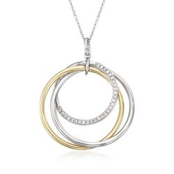 Simon G. .14 ct. t.w. Diamond Intertwining Circle Pendant Necklace in 18kt Two-Tone Gold, , default