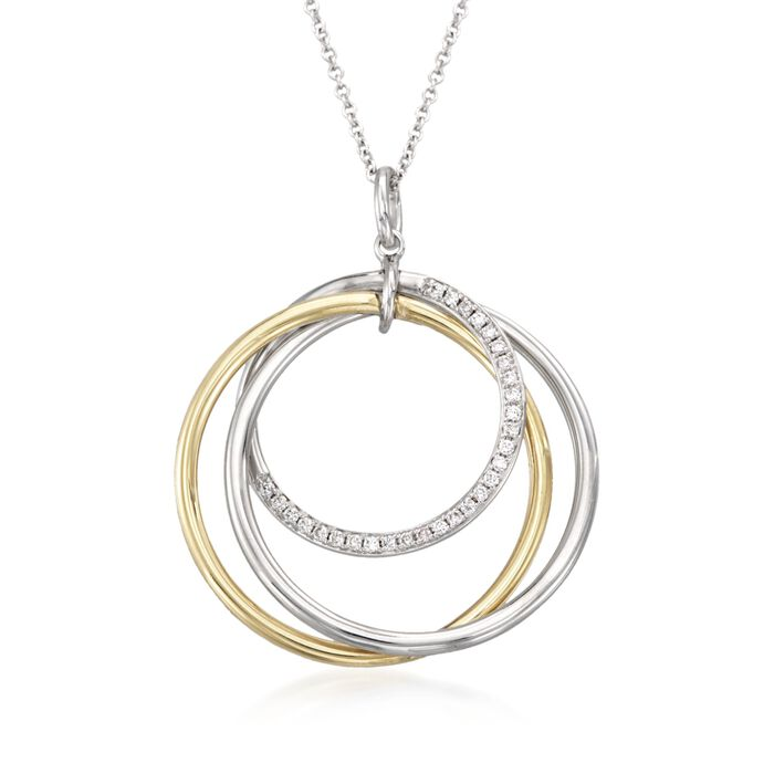 "Simon G. .14 Carat Total Weight Diamond Pendant Necklace in 18-Karat Two-Tone Gold. 17"", , default"