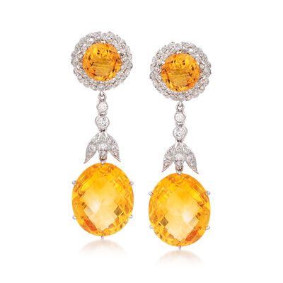 C. 2000 Vintage 31.00 ct. t.w. Citrine and 1.00 ct. t.w. Diamond Drop Earrings in 18kt White Gold, , default