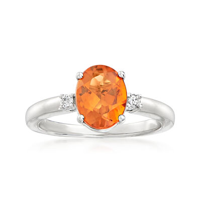 C. 2000 Vintage 1.60 Carat Orange Citrine Ring with Diamond Accents in 18kt White Gold