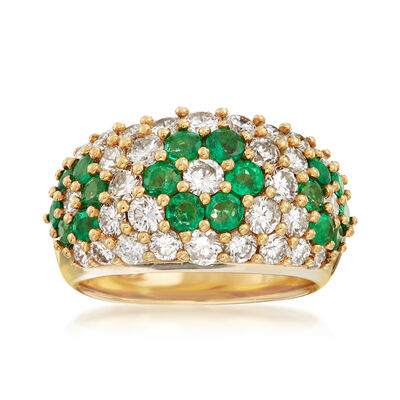 C. 1980 Vintage 1.28 ct. t.w. Emerald and 1.93 ct. t.w. Diamond Flower Ring in 18kt Yellow Gold