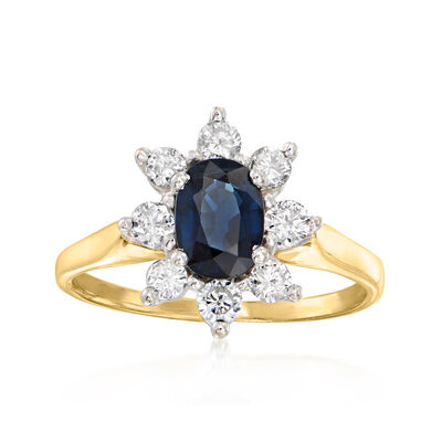C. 1980 Vintage 1.00 Carat Sapphire Ring with .55 ct. t.w. Diamonds in 14kt Yellow Gold