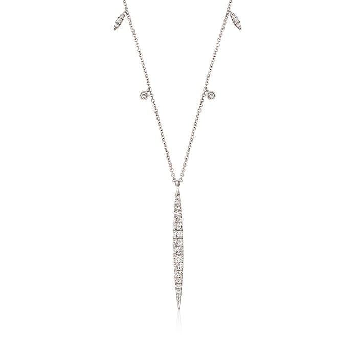 "Gabriel Designs .48 ct. t.w. Diamond Drop Station Necklace in 14kt White Gold. 15.5"", , default"