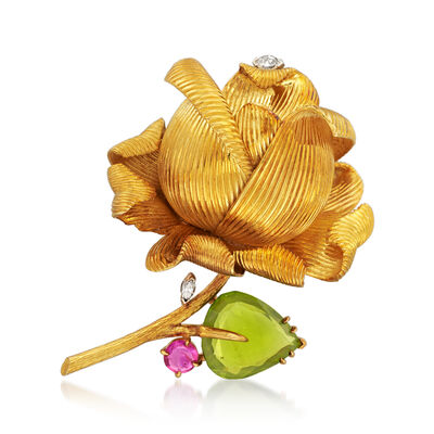 C. 1970 Vintage 18kt Yellow Gold Flower and 15.50 ct. t.w. Peridot Leaf Pin with .98 Carat Ruby and .35 ct. t.w. Diamonds
