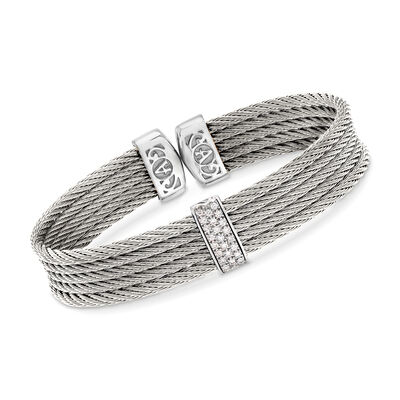 "ALOR ""Classique"" Gray Stainless Steel Cable Cuff Bracelet with .19 ct. t.w. Diamonds and 18kt White Gold, , default"