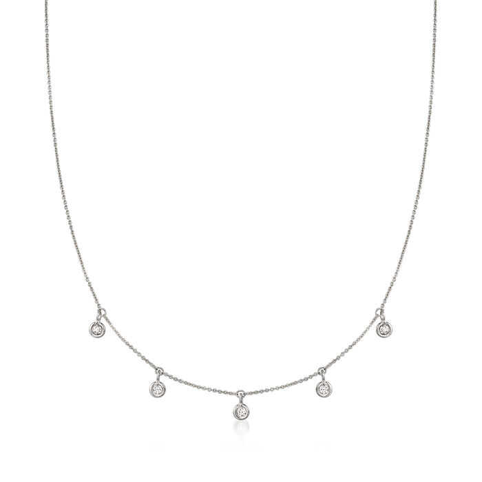 Roberto Coin .23 ct. t.w. Diamond Station Necklace in 18kt White Gold. 16""