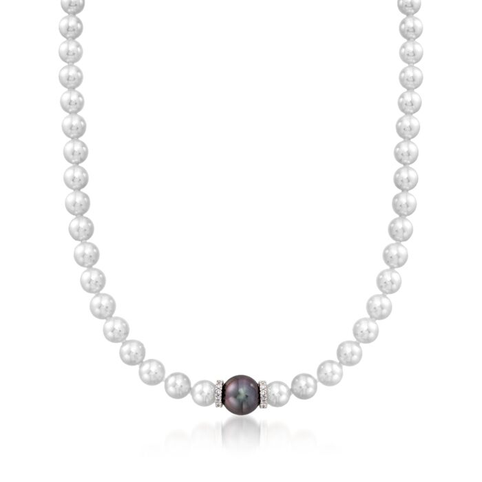 "Mikimoto ""Every Essentials"" 7-7.5mm A+ Akoya and 11mm Black South Sea Pearl Necklace with Diamonds in 18kt White Gold"