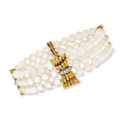 C. 1970 Vintage Cultured Pearl and .28 ct. t.w. Diamond Multi-Strand Bracelet in 18kt Yellow Gold