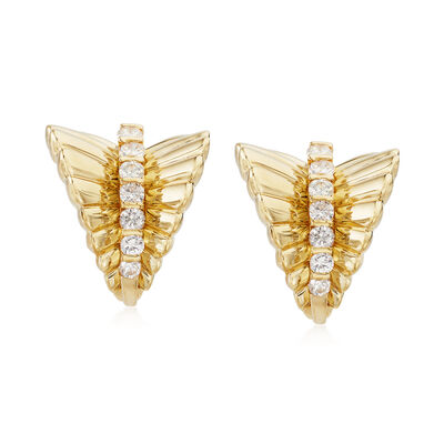 C. 1990 Vintage 1.00 ct. t.w. Diamond Leaf Earrings in 18kt Yellow Gold, , default