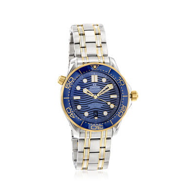 Omega Seamaster Diver Men's 42mm Automatic Stainless Steel and 18kt Yellow Gold Watch with Blue Dial