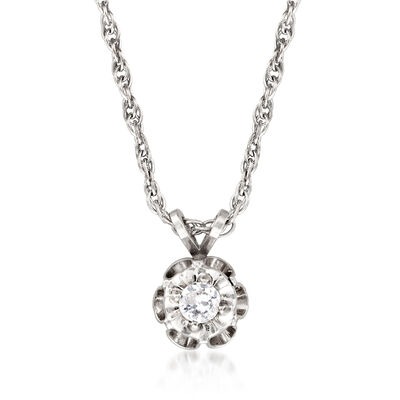 C. 1970 Vintage .15 Carat Diamond Solitaire Pendant Necklace in 14kt White Gold, , default