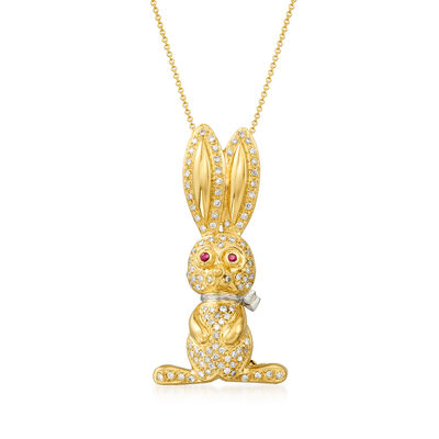 C. 2000 Vintage .75 ct. t.w. Diamond Bunny Pin/Pendant Necklace with Ruby Accents in Platinum and 18kt Yellow Gold