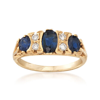 C. 1980 Vintage 1.10 ct. t.w. Sapphire and .10 ct. t.w. Diamond Ring in 14kt Yellow Gold, , default
