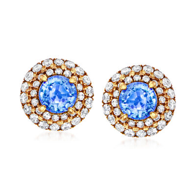 C. 1980 Vintage .80 ct. t.w. Sapphire and .47 ct. t.w. Diamond Earrings in 18kt Yellow Gold