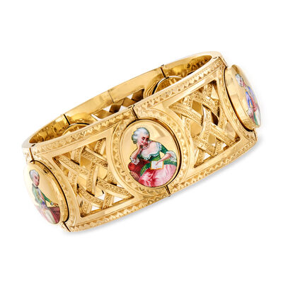 C. 1950 Wide 18kt Yellow Gold Enamel Portrait Bracelet