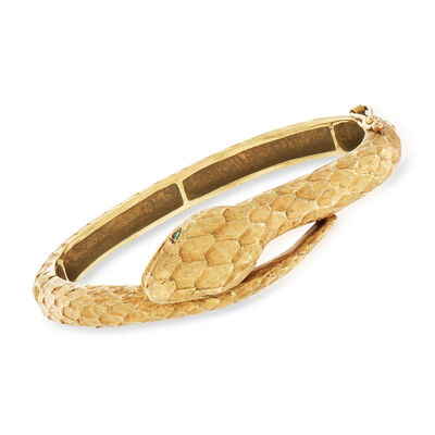C. 1960 Vintage .10 ct. t.w. Diamond and .10 ct. t.w. Emerald Snake Bangle Bracelet in 18kt Yellow Gold