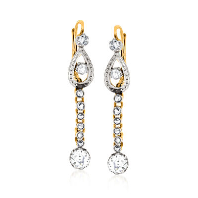 C. 1930 Vintage 1.50 ct. t.w. Diamond Drop Earrings in Platinum and 18kt Yellow Gold, , default