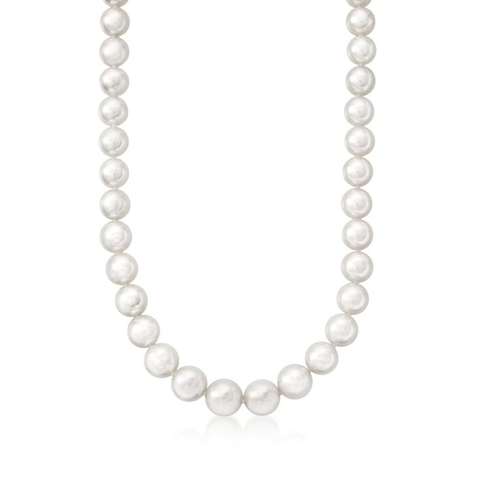 "Mikimoto Graduated Akoya Necklace in 18-Karat White Gold. 18"", , default"