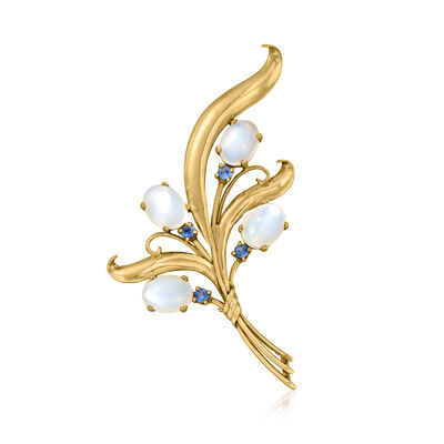 C. 1970 Vintage Moonstone and .20 ct. t.w. Sapphire Bouquet Pin in 14kt Yellow Gold