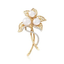 8-10.5mm Cultured Pearl and .13 ct. t.w. Diamond Floral Pin in 14kt Yellow Gold, , default