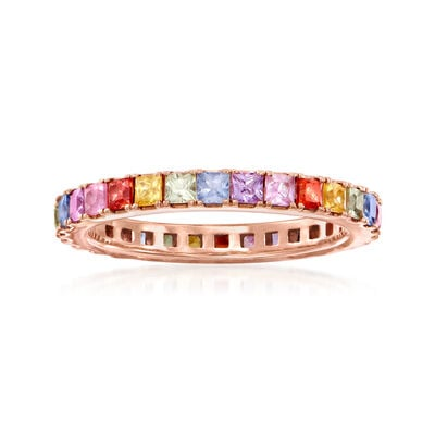 C. 1990 Vintage 3.00 ct. t.w. Multicolored Sapphire Eternity Band in 18kt Rose Gold