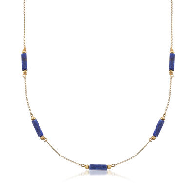 C. 1980 Vintage Lapis Station Necklace in 14kt Yellow Gold, , default