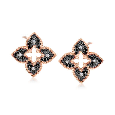 "Roberto Coin ""Venetian Princess"" .71 ct. t.w. Black and White Diamond Flower Earrings in 18kt Rose Gold, , default"