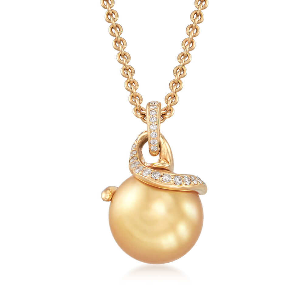 51382ac03 Mikimoto 11mm Golden South Sea Pearl Necklace with .20 ct. t.w. Diamonds in  18kt