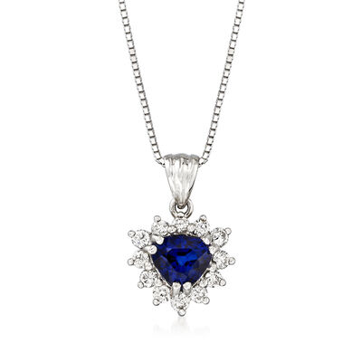 C. 1990 Vintage .60 Carat Sapphire Pendant Necklace with .48 ct. t.w. Diamonds in 18kt White Gold