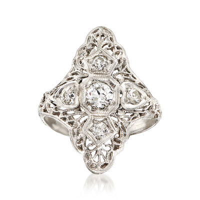 C. 1940 Vintage .45 ct. t.w. Diamond Filigree Cocktail Ring in Platinum, , default