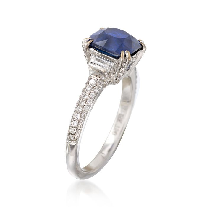 C. 2000 Vintage 2.68 Carat Sapphire and .80 ct. t.w. Diamond Ring in 18kt White Gold