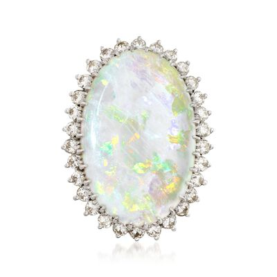 C. 1970 Vintage Opal and 1.00 ct. t.w. Diamond Ring in 14kt White Gold, , default