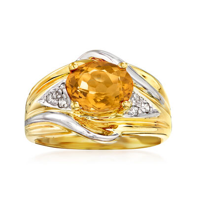 C. 1980 Vintage 1.75 Carat Yellow Beryl and .10 ct. t.w. Diamond Ring in 14kt Two-Tone Gold