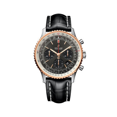 Breitling Navitimer 1 B01 Chronograph Men's 43mm Stainless Steel Watch - Black Leather Strap