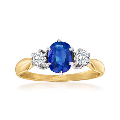 C. 1950 Vintage .90 Carat Sapphire and .25 ct. t.w. Diamond Ring in 14kt Two-Tone Gold